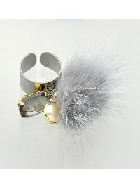 Gary Color Fake Fur Rhinestone Cuff Rings