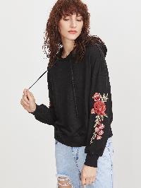 Black Drop Shoulder Embroidered Flower Applique Hoodie