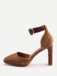 Camel Ankle Strap Stiletto Heels