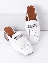 White Fringe Detail Chunky Heeled Slip On Shoes