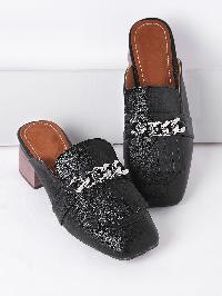 Black Fringe Detail Chunky Heeled Slip On Shoes