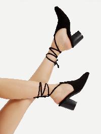 Closed Toe Criss Cross Block Heeled Sandals