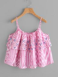 Flower Embroidered Two Layer Gingham Cami Top