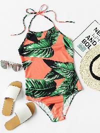 Palm Leaf Print Halter Neck Bodysuit