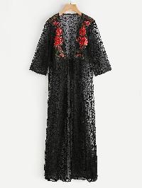 Tie Front Embroidered Flower Applique Vine Mesh Kimono