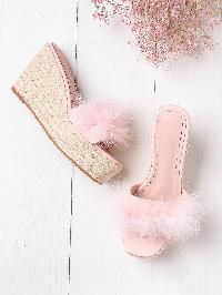 Faux Fur Decorated Woven Wedges