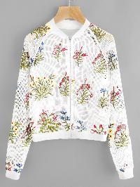 Botanical Embroidered Raglan Sleeve Fishnet Bomber Jacket
