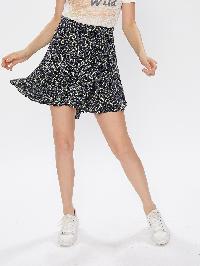 Self Tie Leaf Print Swing Skirt