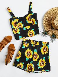 Sunflower Print Zipper Back Crop Tank Top With Shorts