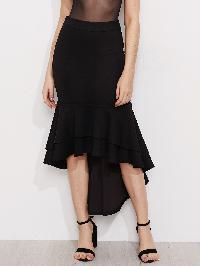 Layered Flounce Trim Hi Lo Fishtail Skirt