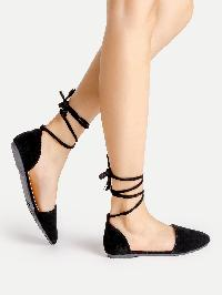 Point Toe Lace Up Ballet Flats