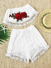 Embroidered Appliques Crochet Tassel Trim Top With Shorts