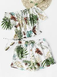 Tropical Print Tassel Tie Bardot Top With Shorts
