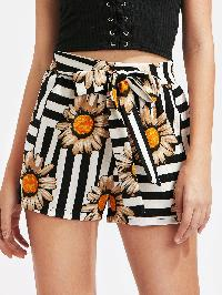 Self Tie Striped And Floral Shorts