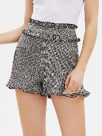 Ruffle Trim Tailored Gingham Shorts