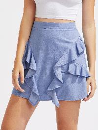 Frill Trim Chambray Skirt
