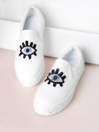 Embroidery Detail PU Sneakers