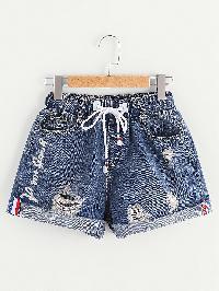 Rolled Hem Ripped Drawstring Denim Shorts