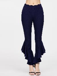 Scallop Waist Asymmetric Hem Flared Pants