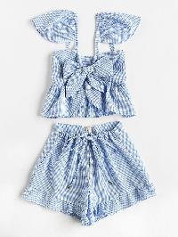 Gingham Bow Tie Peplum Cami Top With Shorts