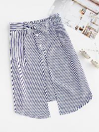 Vertical Striped Split Front Skirt