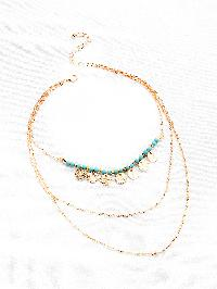 Turquoise & Sequin Layered Necklace