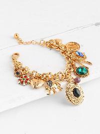 Gemstone & Heart Embellished Chain Bracelet
