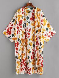 Allover Leaf Print Drop Shoulder Kimono