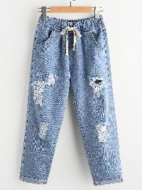 Distressed Cuffed Jeans