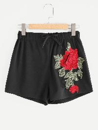 3D Flower Embroidered Applique Shorts