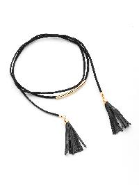 Metal Detail Tassel Design Necklace