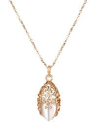 Hollow Design Opal Pendant Chain Necklace