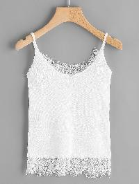 Eyelash Lace Trim Cami Top