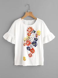 Trumpet Sleeve Flower Print T-shirt