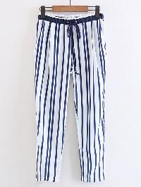 Drawstring Waist Vertical Striped Pants