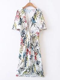 Plunging V-Neckline Floral Print Dress