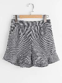 Gingham Frill Hem Shorts