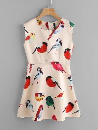 Allover Birds Print Dress