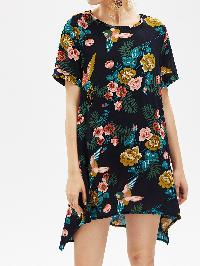 Random Jungle Print Dip Hem Dress