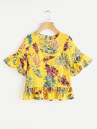 Allover Leaves Print Frill Trim Blouse