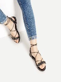 Stone Embellished Cross Lace Up Sandals
