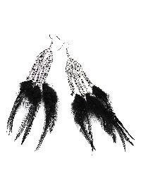 Feather Tassel Drop Earrings With Beads