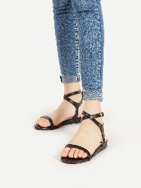 PU Criss Cross Strappy Flat Sandals