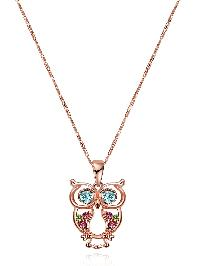 Rhinestone Owl Shaped Pendant Chain Necklace