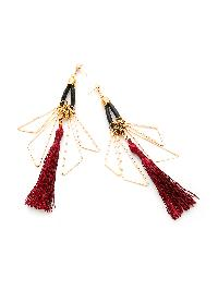 Metal Triangle And Tassel Drop Earrings