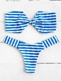 Striped High Leg Bandeau Bikini Set