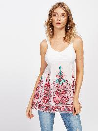 Embroidery Mesh Overlay Babydoll Top