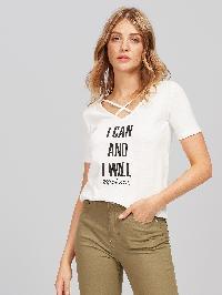 Crisscross Front Slogan Print Slub T-shirt