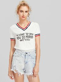 Varsity Striped Trim Slub T-shirt