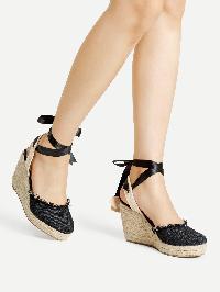 Ankle Wrap Denim Wedge Sandals